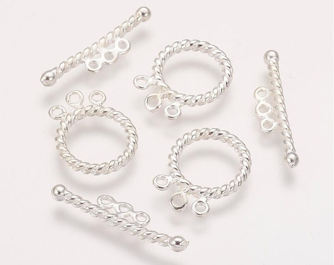 17mm Toggle Clasps Silver Color Round  DIY Findings for Jewelry Making 5pcs/10pcs/20pcs.