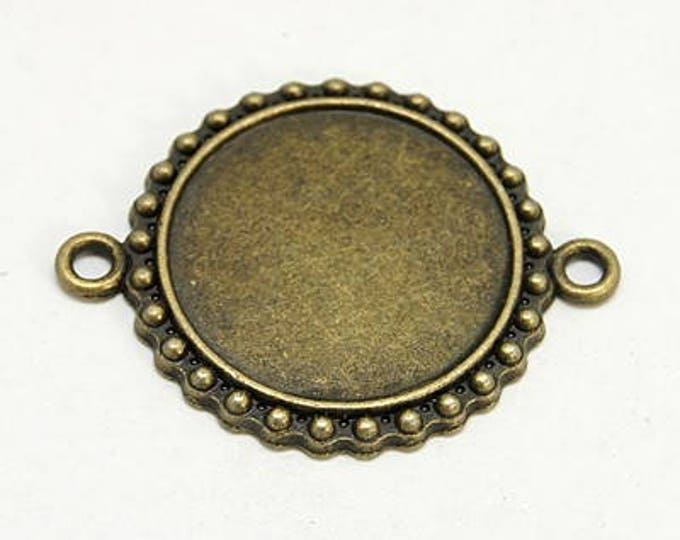 23mm Connectors Bronze Cabochon Setting Round Inner Tray 23mm  Bezel Tray DIY Jewelry Findings.