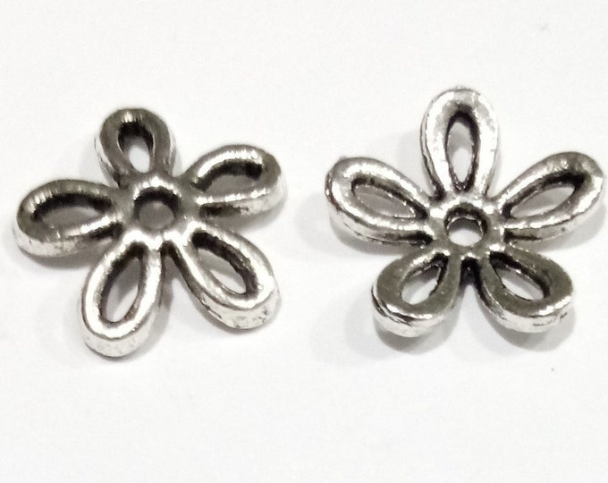 Bead caps 11mm Flower Tone Antique Silver DIY Jewelry Making Findings.