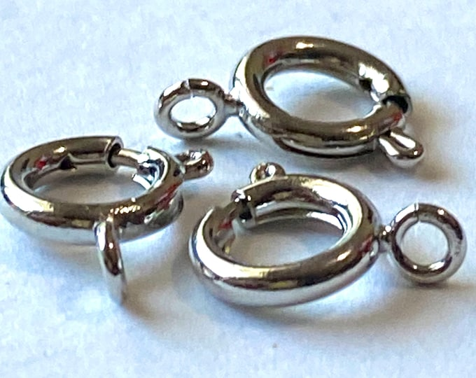 9mm Bolt Spring Ring Necklace End Clasps Silver DIY Jewelry Making Supplie  Findings.