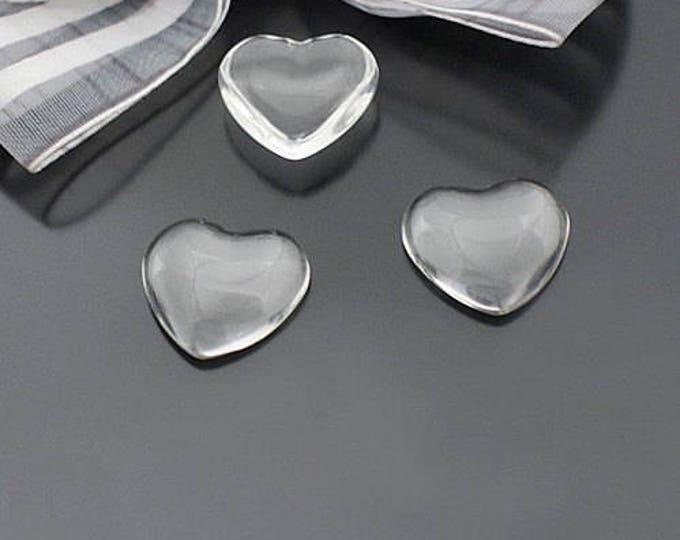 18x18mm Glass Heart Cabochons Clear Bezel Domes DIY Jewelry Pendant, Bracelet, Necklace.