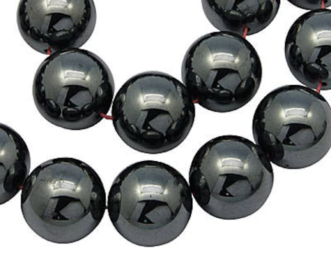 8mm Beads Black Non-Magnetic Synthetic Hematite Beads Strands, Round, DIY Jewelry Making Supplies and Findings.