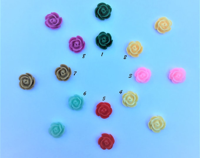 12mm Resin Cabochon, Mixed Color Rose Flower DIY Jewelry Findings.