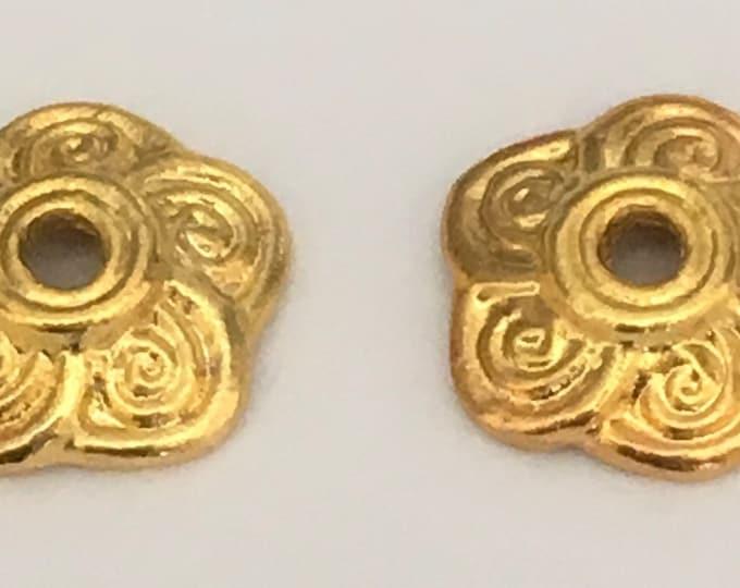 9mm Bead Caps Flower Antique Golden DIY Jewelry Making Findings.