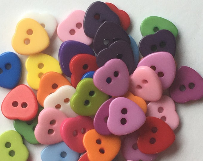 11mm Resin buttons Heart with 2-Hole Mixed color Buttons,  DIY Craft Supplies Findings.