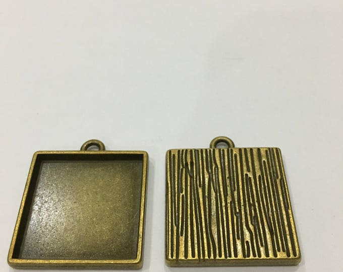 Antique Bronze Square Cabochon Setting Pendant Bezel Tray 25x25mm  Inner Tray DIY Findings for Jewelry Making 5Pcs / 10Pcs
