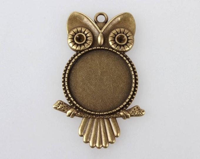 25mm Cabochon Setting Bezel Tray,  Owl Antique Bronze Inner tray DIY Jewelry Findings 2Pcs/4Pcs