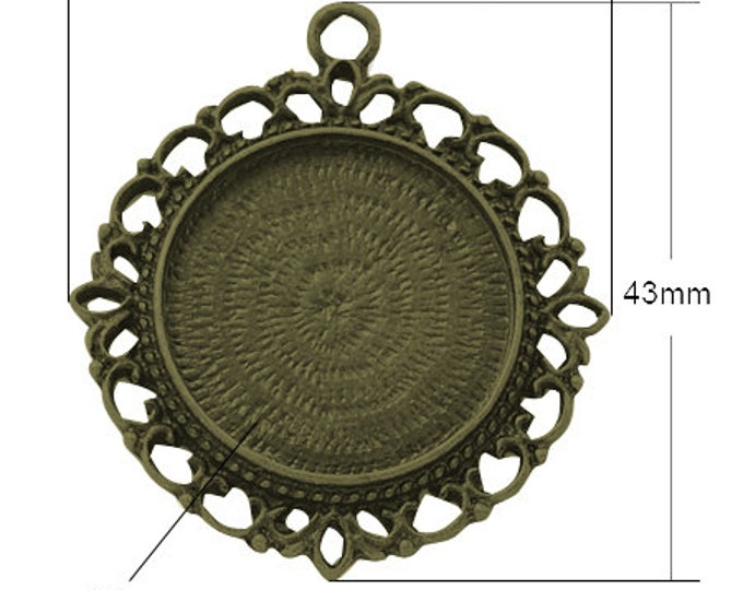25mm Cabochons Pendant Antique Bronze Tray Setting  Bezel Trays, 1 Inch Trays DIY Jewelry Findings 10/20 pcs