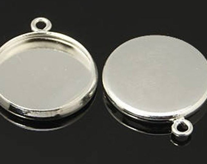 10mm Cabochon Setting Pendant Round Cabochon Setting Bezel Tray DIY Jewelry Making Findings 20pcs / 50pcs / 100pcs.