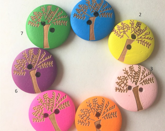 20mm Tree life Buttons Wooden Mixed Color 2 Hole Buttons DIY Craft Supplies Findings.