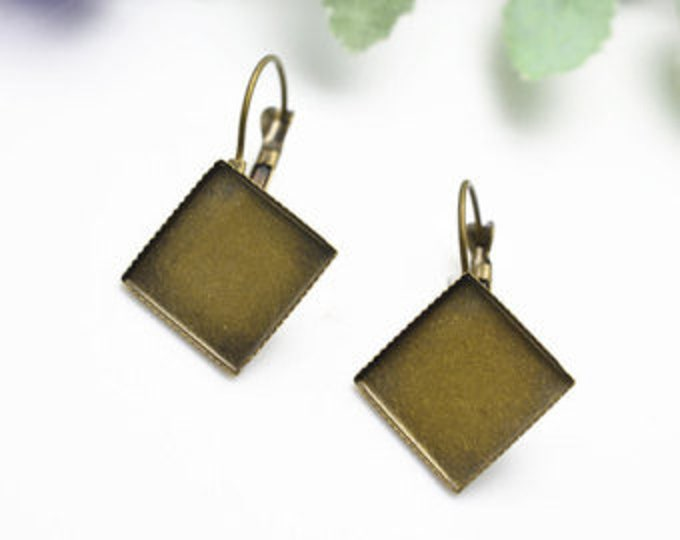 15mm French Earring Bronze Square Cabochon Setting  Component, Inner Tray  Earring  Ear wire DIY Jewelry Supplies 10Pcs/20Pcs.