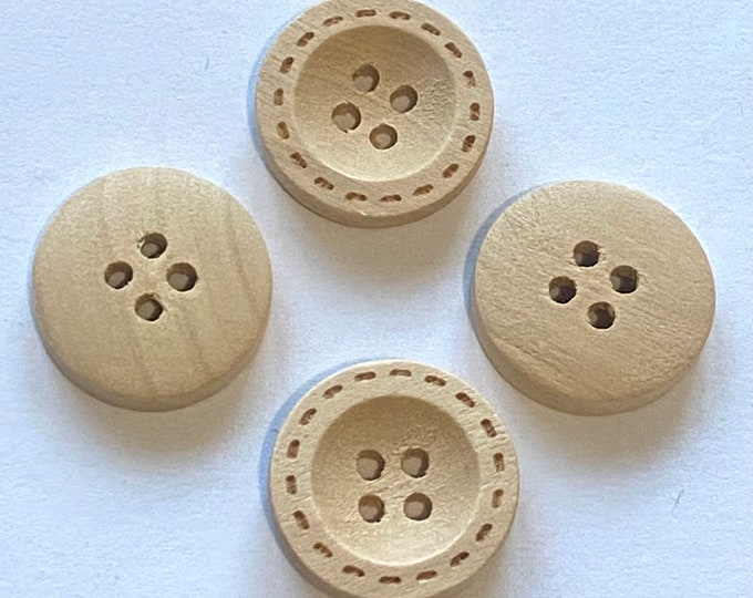 18mm Wodden Buttons Natural 4-hole Central Sunken Buttons Moccasin  DIY Craft Supplies Findings.