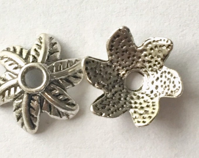 11mm Beadcaps Flower Antique Silver DIY Jewelry Making Findings.