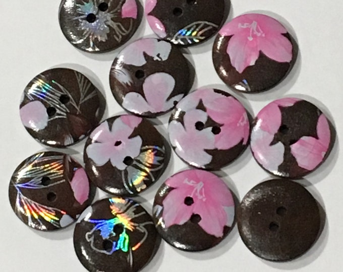 20mm Buttons Flat Round wooden 4-Hole Dyed Chocolate Color DIY Craft Supplies Findings.