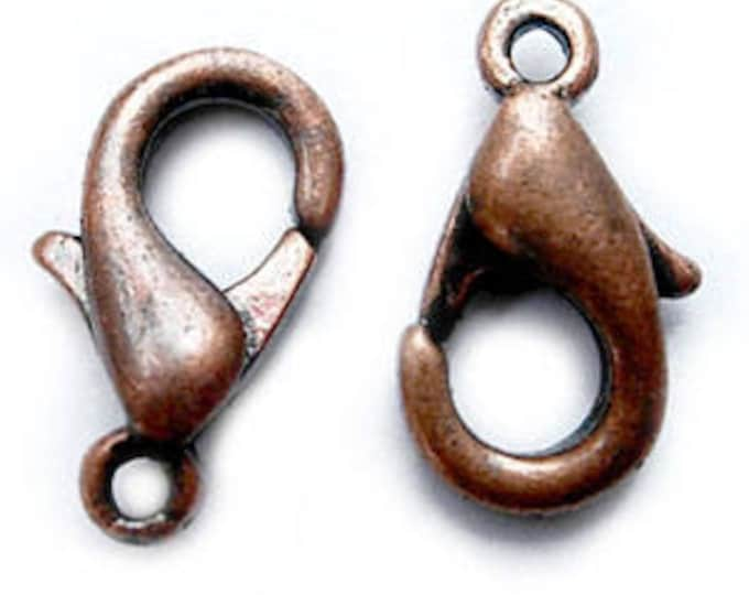 8x14mm Lobster Claw Clasps Red Copper Hole: 1.5mm, DIY Jewelry Making Supplier  Findings.