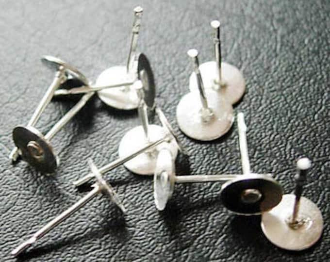 6mm Ear Post Silver Earring Findings,  Flat Pad ,Stud Earring Posts, Stud Earring Blanks, DIY Jewelry Making Findings 200 pcs