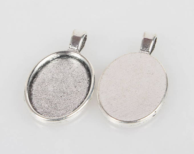 25x18mm Cabochon Setting pendant Antique Silver Bezel Tray Inner Tray DIY Findings for Jewelry Making 5Pcs/ 10pcs/20pcs.