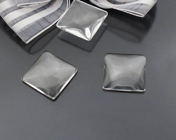16x16mm Square Glass Clear Cabochons Bezel Domes DIY Jewelry Pendant Bracelet Necklaces, 10pcs/20 Pcs/40pcs.