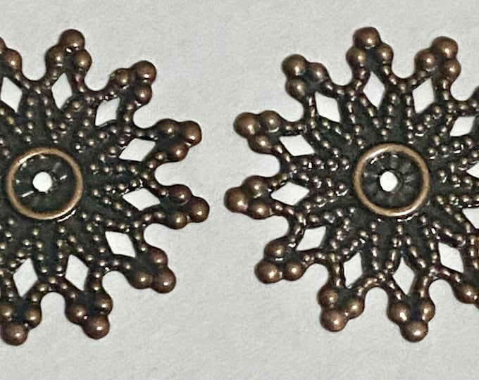 20mm Snowflake Beadcaps Antique Copper DIY Jewelry Making Findings.
