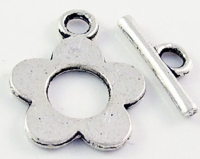 16x20mm Toggle Clasp Flower Antique Silver DIY Jewelry Making Supplies Findings.