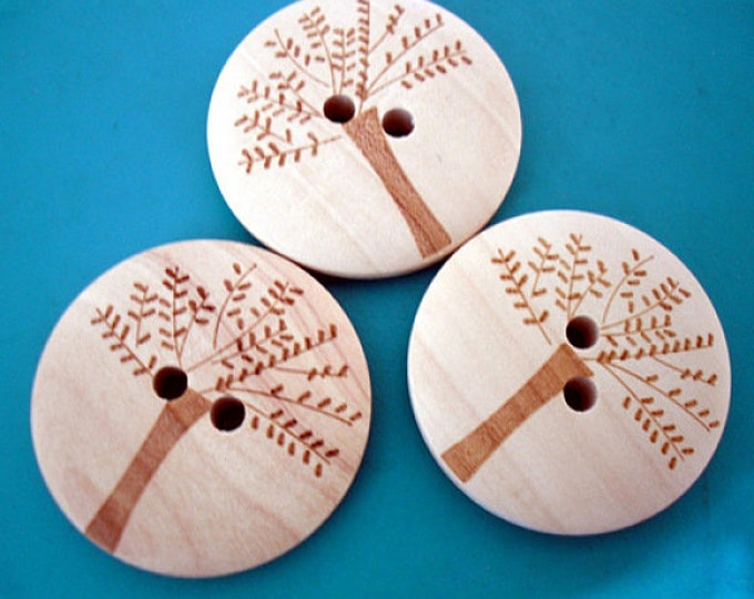 30mm Treelife Buttons with 2-Hole, Wooden Buttons,  DIY Craft Supplies Findings.