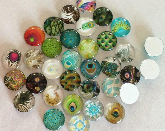 12mm Printed Cabochons Feather Pattern Glass Half Round/Dome, Mixed Color, DIY Jewelry Findings.