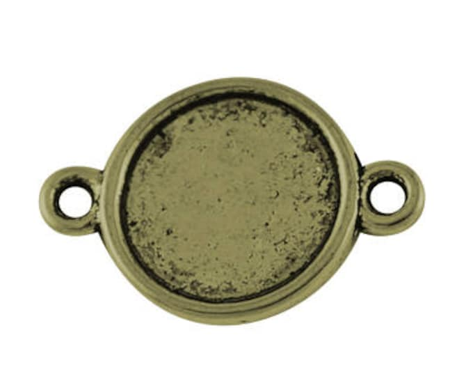 10mm Cabochon Setting  connector Inner Tray double Sided Bezel Tray Antique Bronze Round DIY Jewelry Findings.