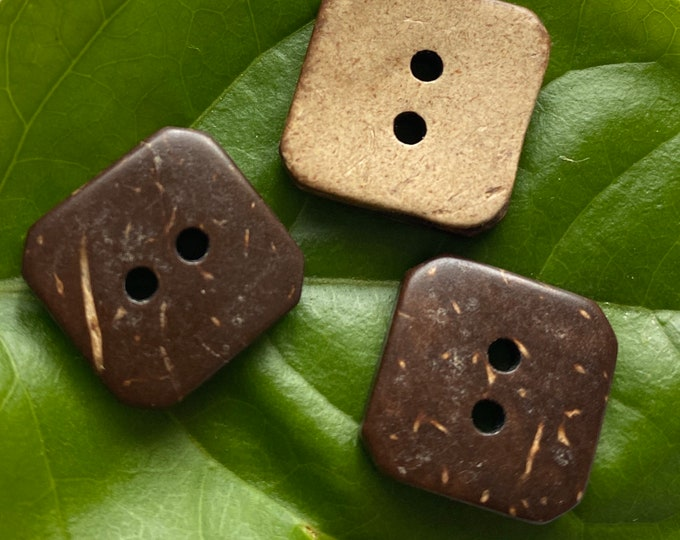 15mm buttons Coconut 2 Hole Square Buttons DIY Craft Supplies Findings.
