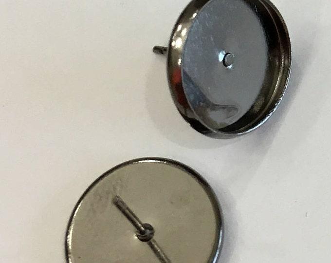 12mm Ear stud Gunmetal Earring Components, Black Studs, DIY Jewelry, Cabochon Jewelry 50pcs.