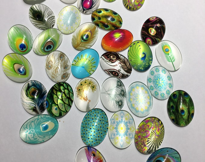 18x25mm Printed Cabochon Mixed Glass Feather Pattern Glass Oval Flat back Cabochons, Mixed Color, DIY Jewelry Findings.