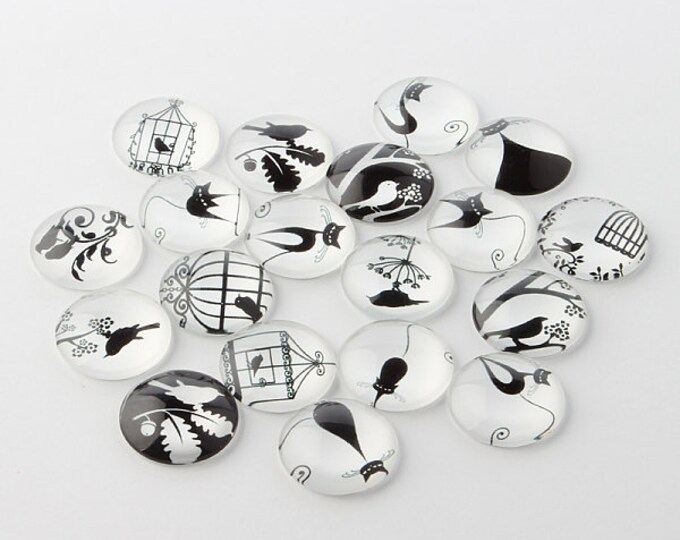 12mm Printed Half Glass Cabochons Retro Black and White DIY Jewelry Findings.