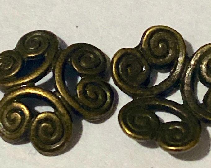 13mm Beadcaps Flower Antique Bronze DIY Jewelry Making Findings.