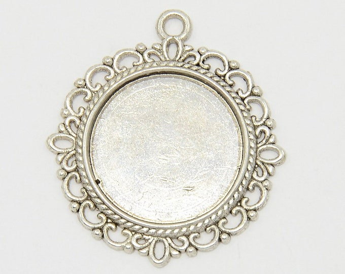 20mm Cabochons Settings Pendant Antique Silver Tray Setting  Bezel Trays DIY Jewelry Findings 40pcs.
