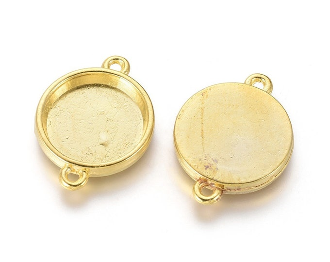 15mm Connectors  Cabochon Setting  Gold Color Round Inner Bezel Tray DIY Jewelry Findings.