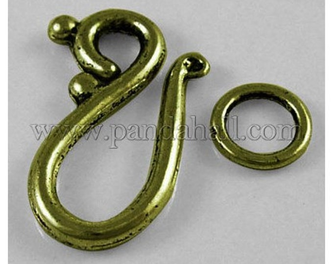 12x20.5mm Hook and Eye Clasps Toggles Antique Bronze Jewelry Making Supplie  Findings.