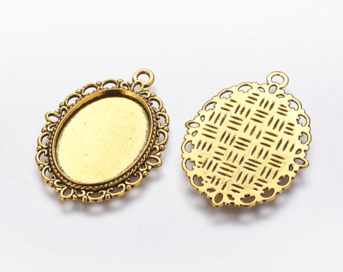 25x18mm Oval Cabochon Setting Antique Gold Bezel Tray Inner Tray DIY Findings for Jewelry Making.