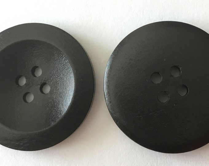 30mm Black Buttons Wooden DIY Jewelry Findings.