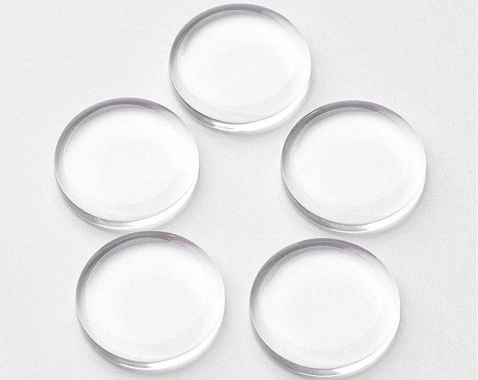 Flat Glass 25mm Clear Transparent Cabochons Flat Domes DIY Jewelry Findings 20/10 Pcs