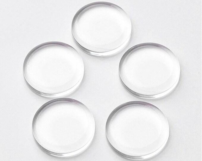 Flat Glass 25mm Clear Transparent Cabochons Flat Domes DIY Jewelry Findings 40pcs/50pcs