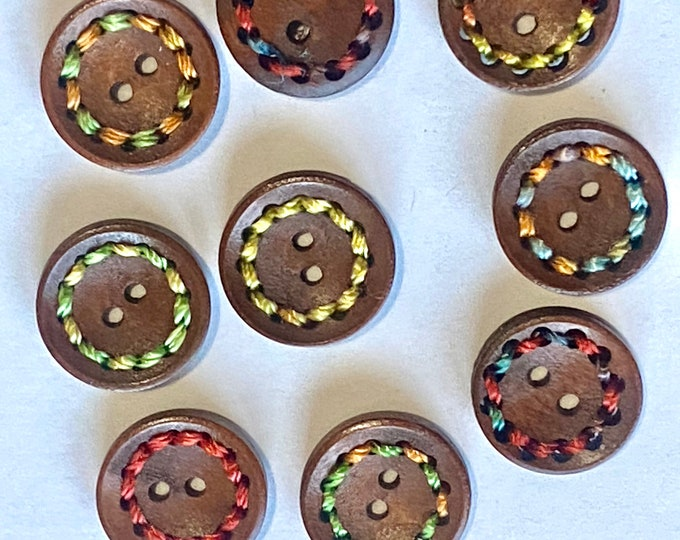 20mm Buttons Colorful Thread wooden Buttons 2-Hole Dyed Chocolate Color DIY Craft Supplies Findings.