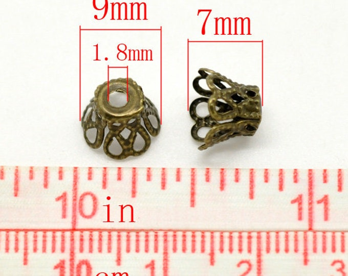 9mm Beads Caps Cup Flower Antique Bronze DIY Jewelry Making Findings.