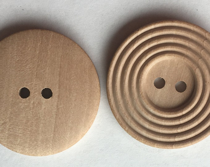 Wooden Buttons 30mm 4-hole Natural Round Sewing Buttons, DIY Craft Supplies Findings.