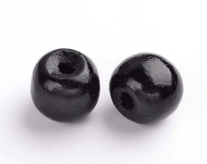 12mm Beads Dyed Wooden Round, Black color DIY Jewelry Making Supplies and Findings.
