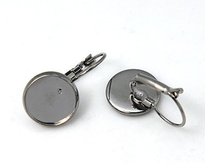 14mm French Earring Cabochon Setting Component, Gunmetal Inner Tray Earring  Earwire DIY Jewelry Supplies 10pcs / 20 pcs