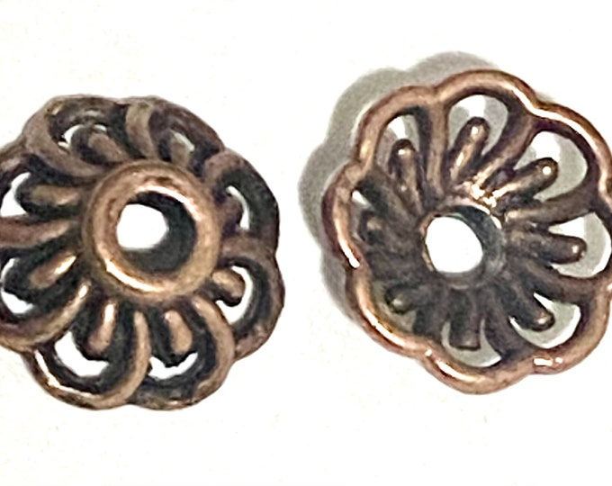 10mm Beadcaps Red Copper DIY Jewelry Making Findings.
