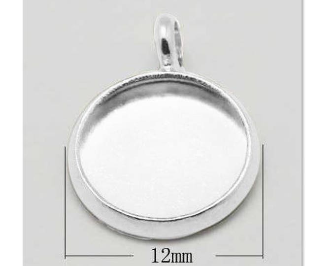 10mm Cabochon Pendant Tray Silver Round Bezel Tray DIY Jewelry Making Findings 10pcs/ 50pcs