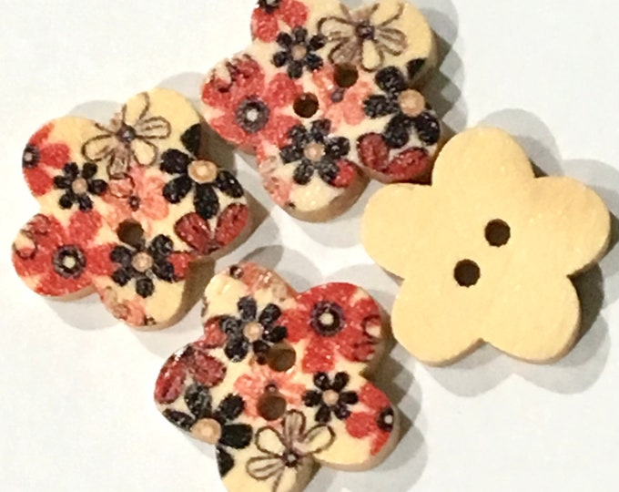 18mm Painted Petal Buttons with 2-Hole Wooden Buttons DIY Craft Supplies Findings.