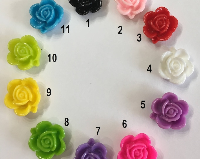 15mm Resin Flower Cabochon Mixed Color Rose Flower  DIY Jewelry Findings.