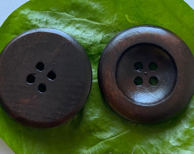 25mm Buttons Flat Round wooden 4-Hole Dyed Chocolate Brown Color DIY Craft Supplies Findings.