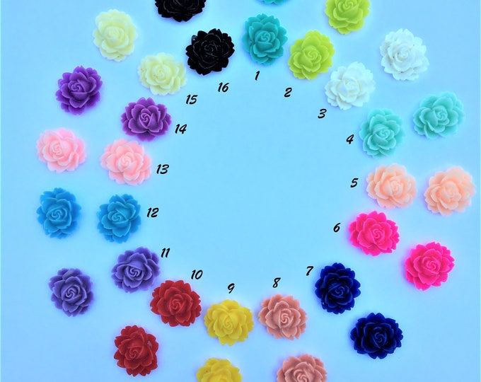 18x16x6mm Resin Flower Cabochon,  Mixed Color Rose Flower DIY Jewelry Findings.